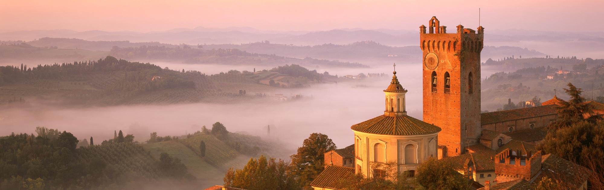Mist below San Miniato, Tuscany, Italy