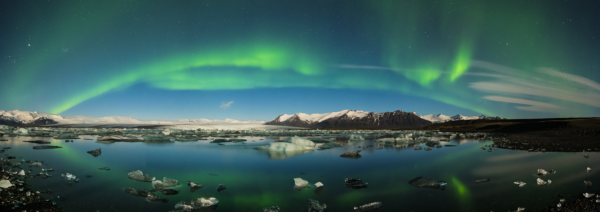 Northern Lights over Jokulsarlon Iceberg Lagoon, Iceland