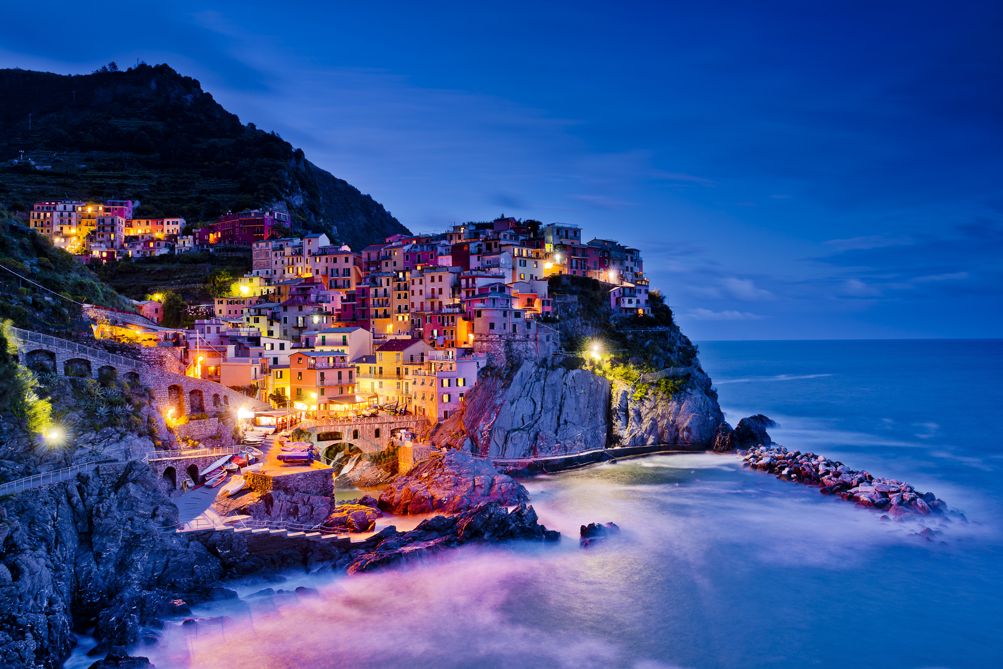 Manarola at Night, Cinque Terre, Liguria, Italy