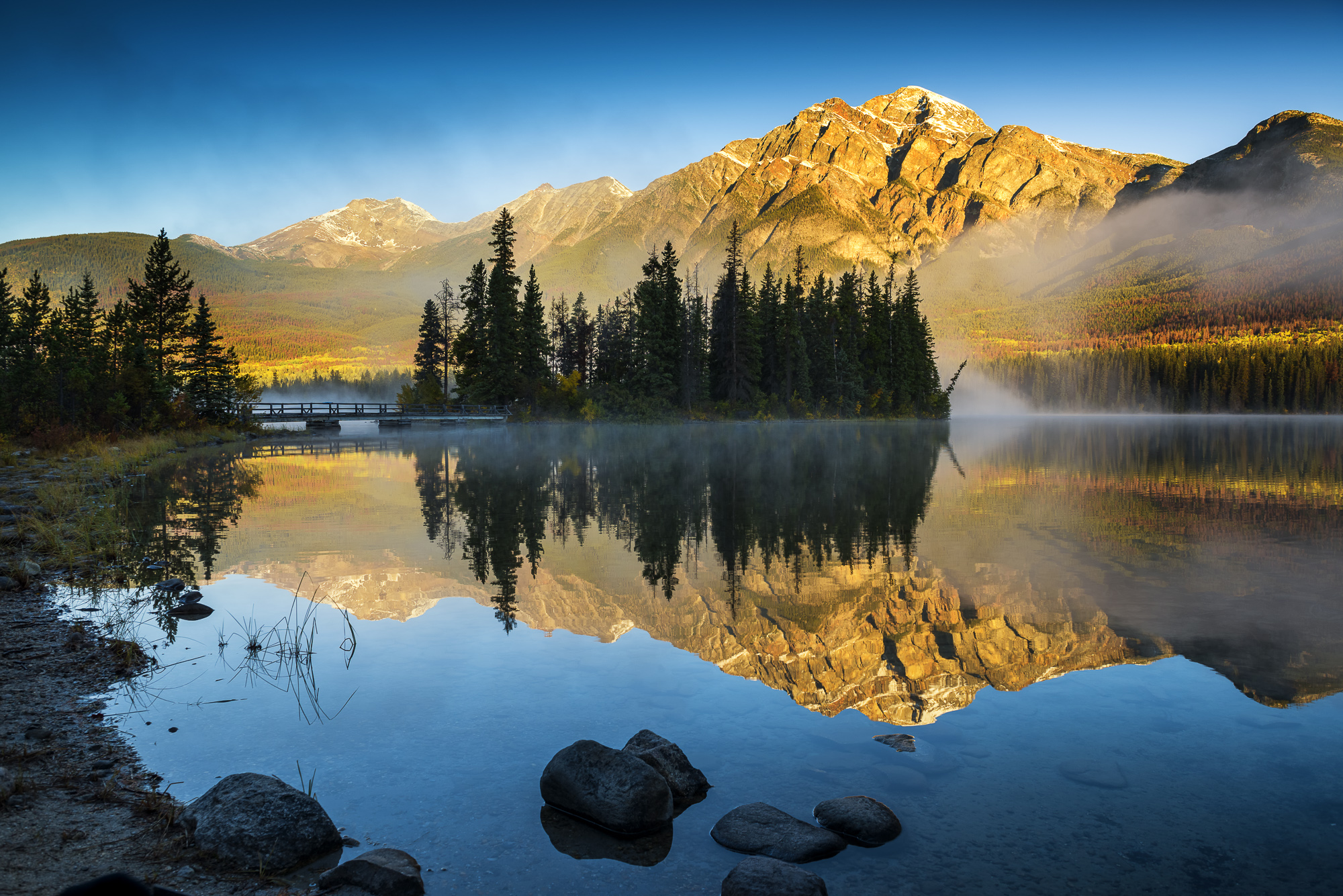 Mist on Pyramid Lake, Jasper National Park, Alberta, Canada