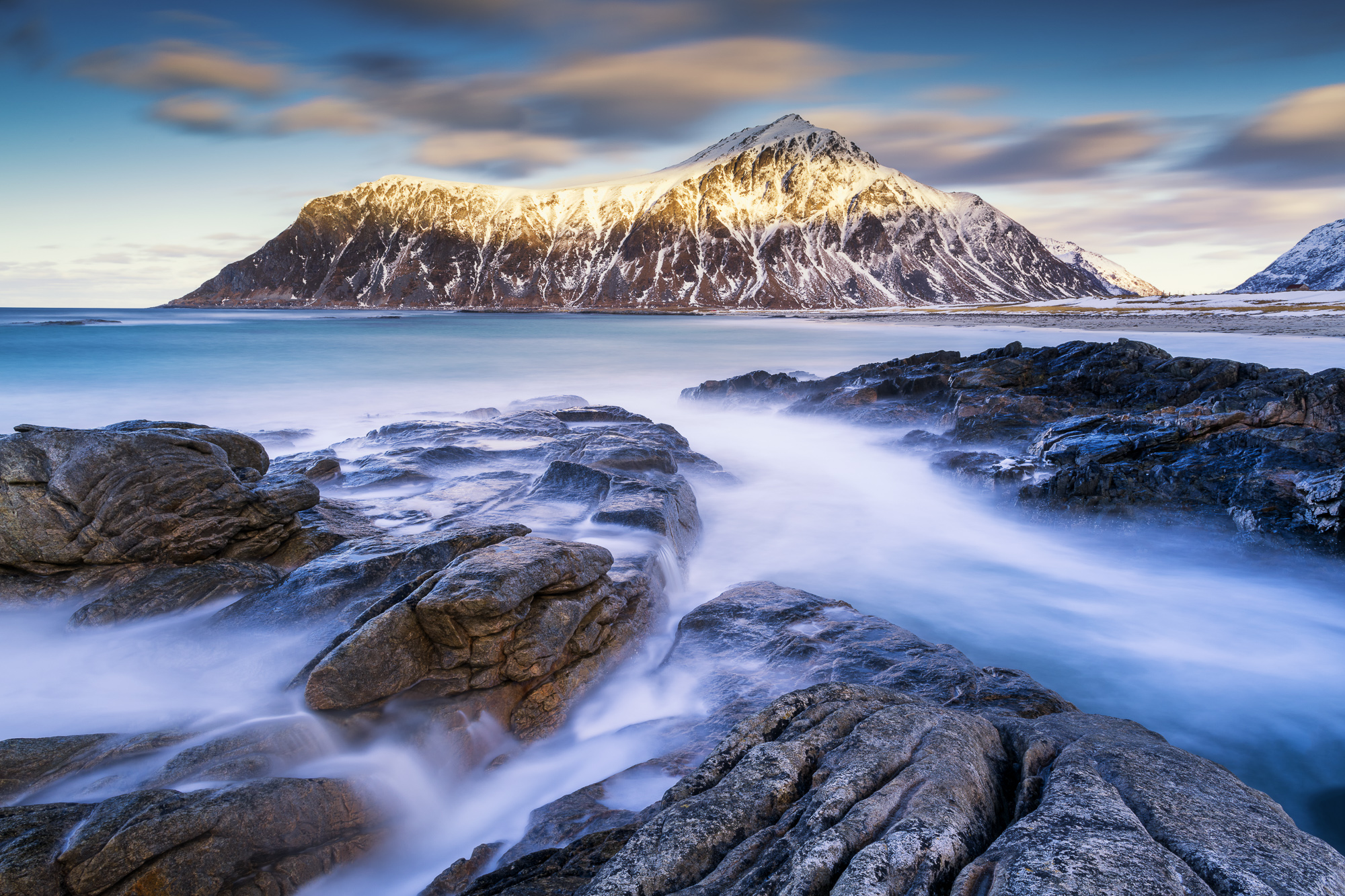 Hustinden from Skagsanden Beach, Lofoten Islands, Norway
