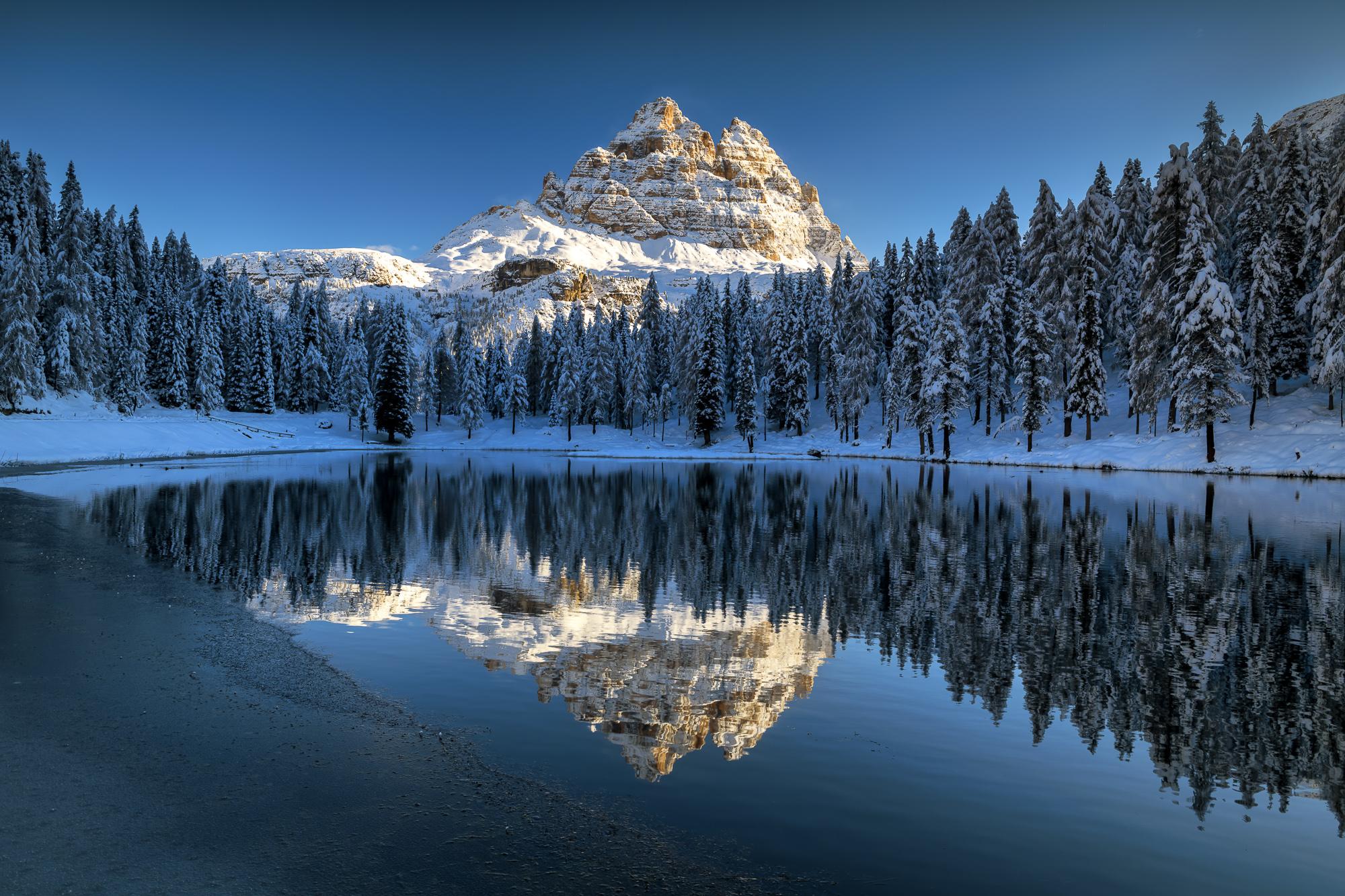 Tre Cime di Lavaredo Reflecting in Lago Antorno, Dolomites, Italy
