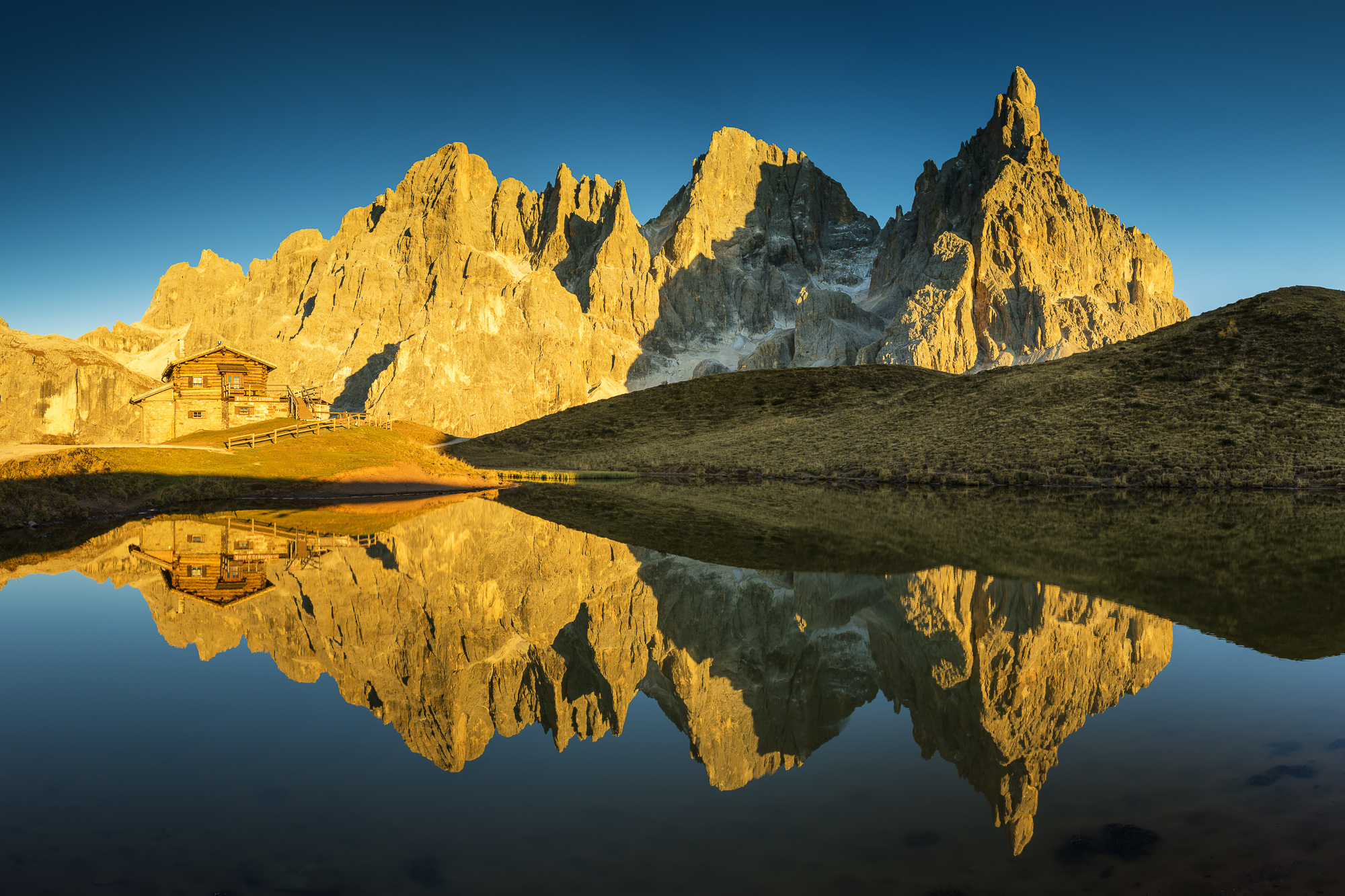 Pale di San Martino Reflecting in Lake, Passo Rolle, Dolomites, Italy