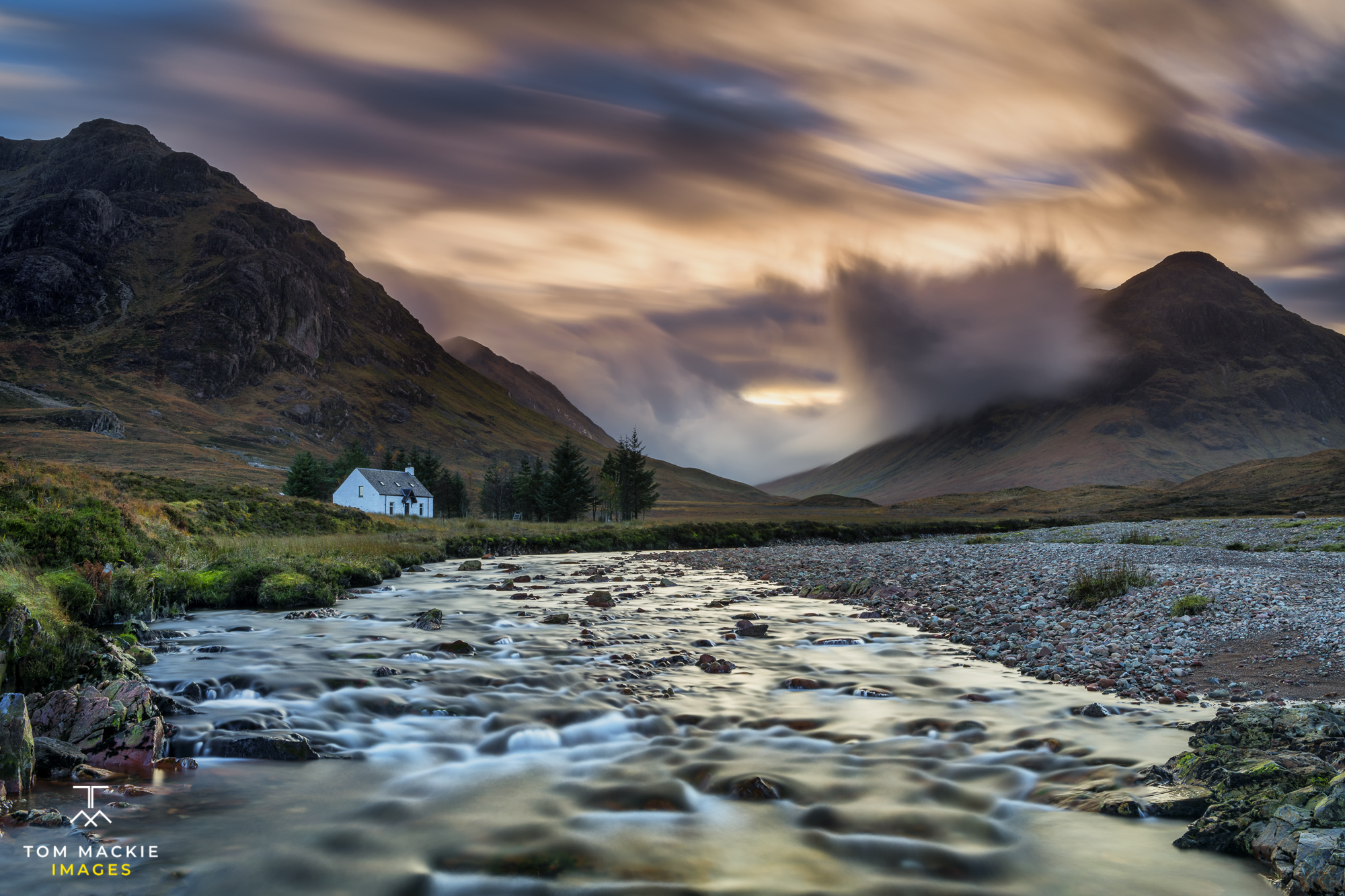 Lone White Cottage by River Coupall, Glen Coe, Highlands, Scotland