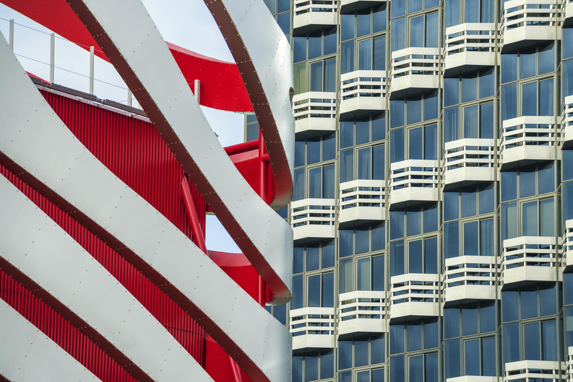 Modern Architecture Detail, Peterson Automotive Museum Building, Los Angeles, CA, USA