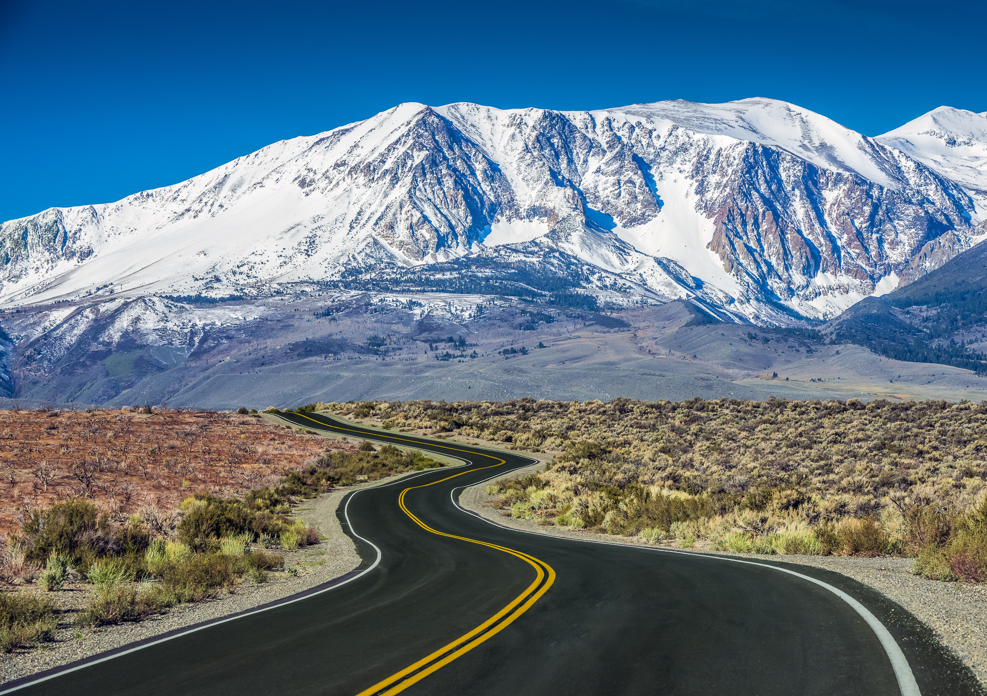 Winding Road Towards Mountains, Eastern Sierras, California, USA