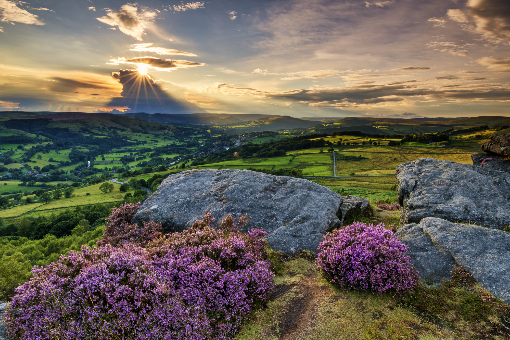 Millstone Edge at Sunset, Peak District National Park, Derbyshire, England