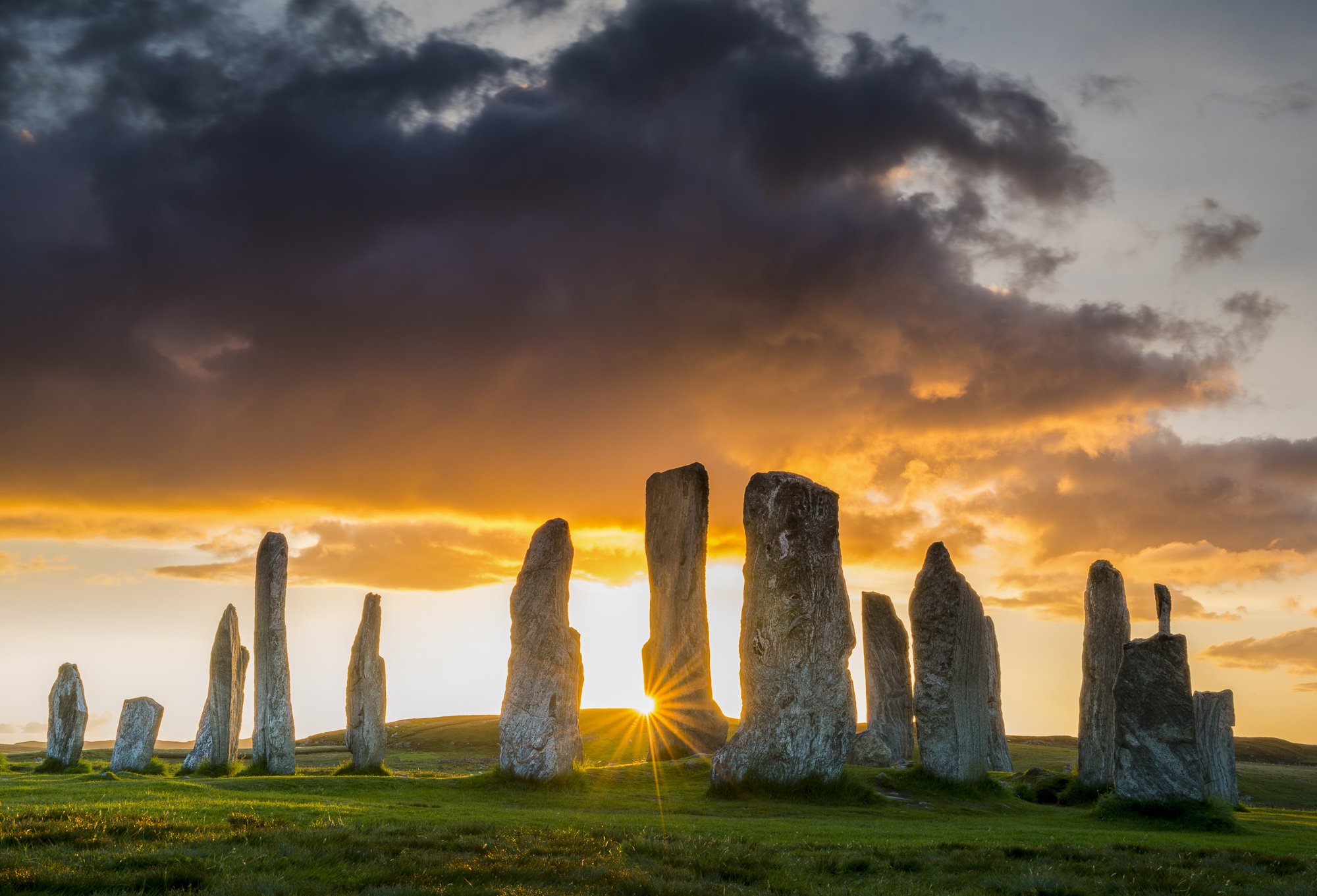 Callanish Standing Stones at Sunset, Isle of Lewis, Outer Hebrides, Scotland