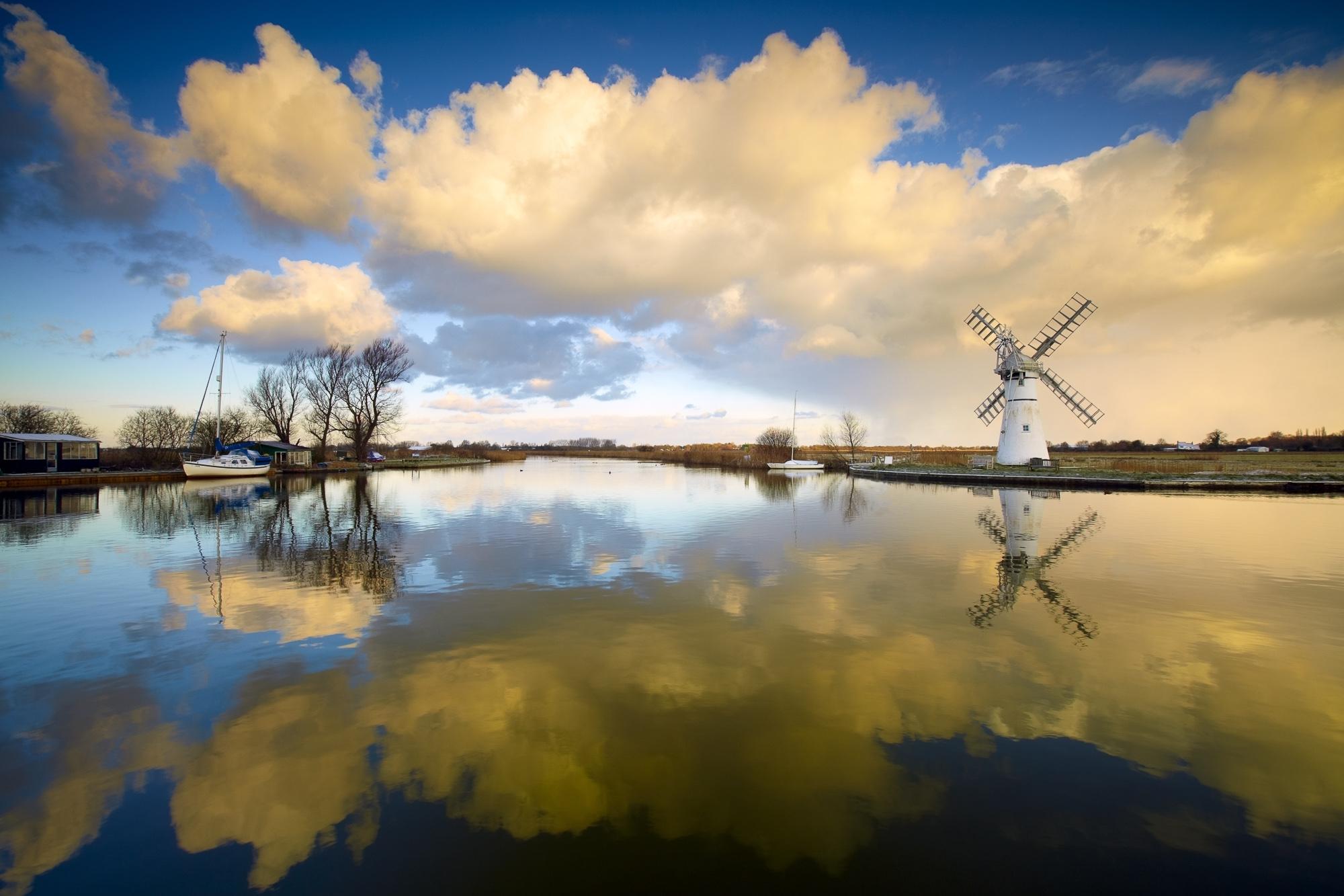 River Thurne Reflections, Norfolk Broads National Park, Norfolk, England
